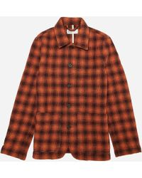 Universal Works - Checked Textured-wool Jacket - Lyst