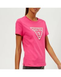 Guess - Short Sleeve Crew Neck Stone And Bead T-shirt - Lyst