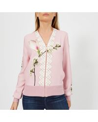 Ted Baker - Emylou Harmony Print Zip Up Cardigan - Lyst