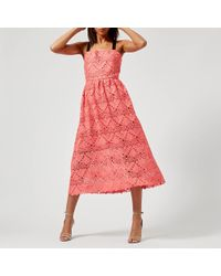 Perseverance London - Aztek Guipure Lace Strappy Midi Dress - Lyst