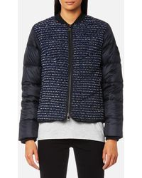 Karl Lagerfeld - Boucle Quilted Down Bomber Jacket - Lyst