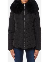 FROCCELLA - Short Cheveron Big Fur Collar Coat - Lyst