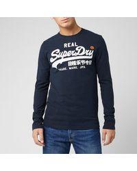 Superdry Mens Vintage Logo Linear Ls Tee Long Sleeve Top