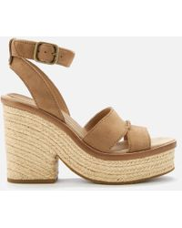 14e6a20c5f5b UGG - Carine Leather Platform Heeled Sandals - Lyst