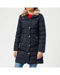 Joules - Caldecott Feather And Down Coat With Faux Fur Trim Hood - Lyst
