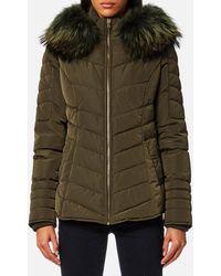 FROCCELLA - Short Cheveron Big Fur Collar Coat - Lyst