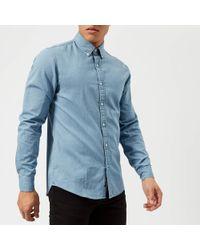 39c007684ca Michael Kors - Slim Fit Clean Light Washed Denim Long Sleeve Shirt - Lyst