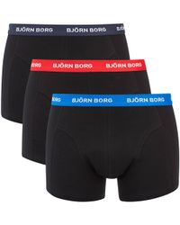 Björn Borg - Three Pack Solid Boxer Shorts With Contrast White Waistband - Lyst