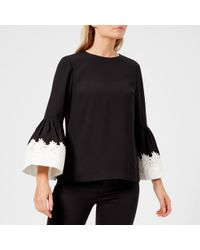Ted Baker - Amonie Fluted Sleeve Lace Trim Top - Lyst