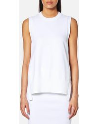 DKNY - Women's Sleeveless Crew Neck Mixed Media Top With Side Slits - Lyst