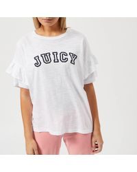 Juicy Couture - Juicy Logo Ruffle Sleeve Graphic T-shirt - Lyst