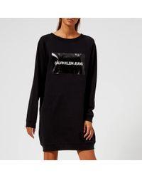 Calvin Klein Jeans - Institutional Box Logo Sweatshirt Dress - Lyst