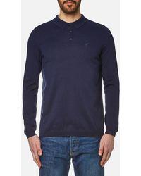 e279fb808 HUGO Demons Long Sleeved Mercerised Polo in Blue for Men - Lyst