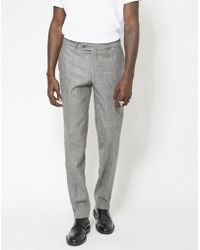 The Idle Man - Slim Fit Pure Wool Tweed Suit Trousers Grey - Lyst