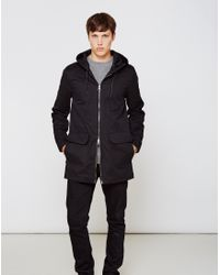 The Idle Man - Lightweight Parka Coat Black - Lyst