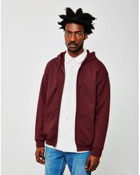 The Idle Man - Classic Zip Through Hoodie Burgundy - Lyst