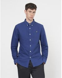 Farah - Brewer Long Sleeve Oxford Shirt Navy - Lyst