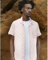 The Idle Man - Polka Dot Revere Collar Shirt Pink - Lyst