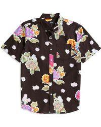 Huf - Botanica Floral Short Sleeve Shirt Black - Lyst