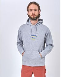 The Idle Man - Sunday Club Slow Times Embroidery Hoodie Grey - Lyst