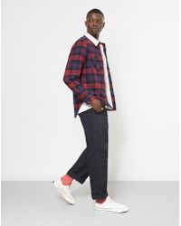 The Idle Man - Brushed Check Shirt With Borg Collar Blue & Red - Lyst
