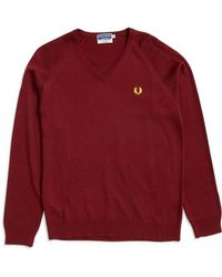 Fred Perry - V Neck Jumper Burgundy - Lyst
