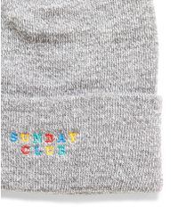 The Idle Man - Embroidered Sunday Club Beanie Grey - Lyst