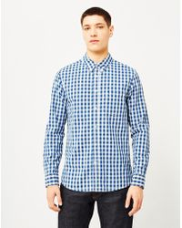 Lee Jeans - Buttoned Down Indigo Check Shirt Blue Men's Long Sved Shirt In Blue - Lyst