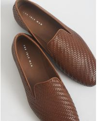 The Idle Man - Woven Slip On Leather Shoe Tan - Lyst