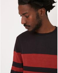The Idle Man - Cut & Sew Stripe Sweatshirt Black - Lyst