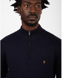 Farah - Zipped Collar Jumper Navy - Lyst