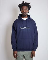 The Idle Man - Nowhere Italics Hoodie Navy - Lyst