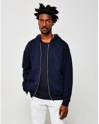 The Idle Man - Classic Zip Through Hoodie Navy - Lyst