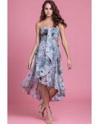 00eb7f1483 Byron Lars Beauty Mark - - Oil Pastel Blue Strapless Dress - Lyst