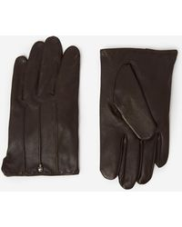 The Kooples - Brown Leather Gloves With Skull And Crossbones Rivet - Lyst