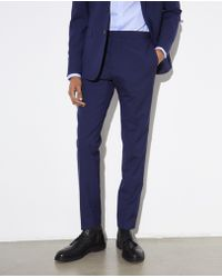 The Kooples - Slim-fit, Blue Wool Suit Trousers With Houndstooth Motif - Lyst