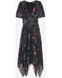The Kooples Long Printed Black Dress - Multicolor