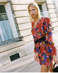 The Kooples Short, Light Floral-print Dress With Shoulder Pads - Multicolor