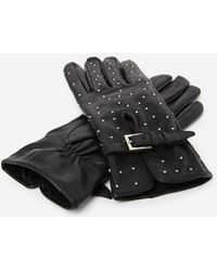 The Kooples - Studded Black Leather Gloves - Lyst