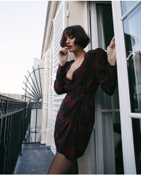 The Kooples - Silk Wrap Dress With Heart Bouquet Print - Lyst