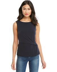 068103982468f Lyst - Jones New York Sleeveless Square Neck Tank Top in Gray