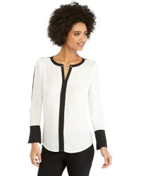 The Limited - Contrast Bell Sleeve Blouse With Metal Trim - Lyst