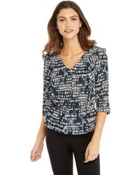 The Limited - V-neck Ruffle Front Blouse - Lyst
