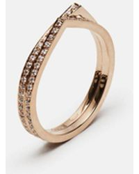 Repossi - 2 Rows Antifer Pink Gold Half Pave Diamond Ring - Lyst