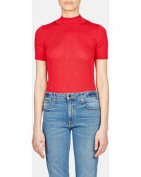 Une Heures - Short Sleeve Mock Neck Pullover - Lyst