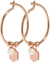Cluse - Essentiele Hexagon And Pearl Charm Hoop Earrings - Lyst