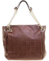 Carolina Herrera - Monogram Leather Shoulder Bag - Lyst