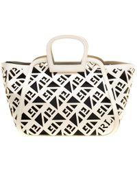 ce968ed28c Ralph Lauren - Off White Greek Print Leather Top Handle Bag - Lyst
