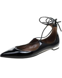Aquazzura - Patent Leather Christy Lace Up Pointed Toe Flats - Lyst