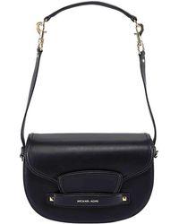 fa63b1b87baa MICHAEL Michael Kors - Black Leather Medium Cary Saddle Crossbody Bag - Lyst